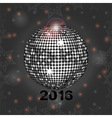 Festive gray glowing background with disco ball vector image vector image
