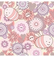 Seamless Cute Bee and Flowers vector image