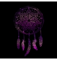 Abstract glowing dreamcatcher in blue and pink vector image