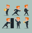 businessman character different positions and vector image
