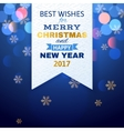 Christmas card on red bokeh background vector image