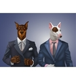 doberman and bullterrier dressed up in office suit vector image