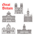 great britain architecture landmarks icons vector image