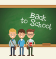 back to school students boy chalkboard text vector image