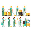 cleaner characters with cleaning equipment vector image