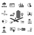 big data icons set business and technology vector image