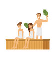people wearing towels steaming with birch broom in vector image