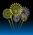 Beautiful fireworks on dark blue vector image
