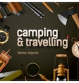 Camping and travelling template vector image vector image