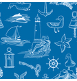 pattern with marine objects vector image vector image