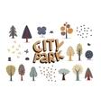 City park set white vector image vector image