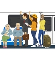 Diverse people inside metro subway train vector image