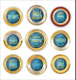 luxury gold and blue badges collection vector image