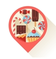 Navigation marker with colorful candy sweets and vector image