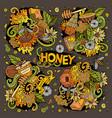 cartoon set of honey theme doodles design vector image