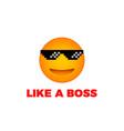 like a boss emoji smile face vector image vector image