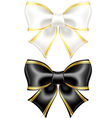 Black and white bows with golden edging vector