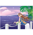 Girl on tropical sea vector image vector image