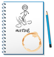 A notebook with a sketch of a person surfing vector image