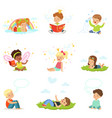 happy and lovely children play and dream cartoon vector image
