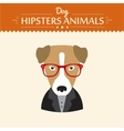 Hipster character elements for nerd puppy dog with vector image