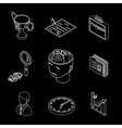 Line isometric business icons Head gears cup and vector image