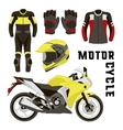 set of motorcycle accessories vector image