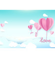 paper art style heart shape balloons flying in sky vector image