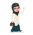walk home treatment female girl cute arab doctor vector image