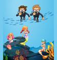 people diving underwater with mermaids vector image vector image