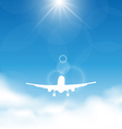 Blue sky and clouds with flying airplane vector image vector image