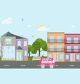 city street view with baloons flat style vector image