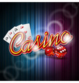casino design with roulette wheel and ribbon vector image vector image