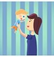 Happy mom with son cartoon vector image