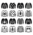 Ugly Christmas sweater on jumper icons set vector image
