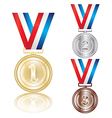 set of the gold silver and bronze medals vector image vector image