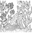 Zentangle stylized fox in garden vector image