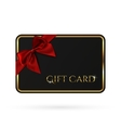 Black gift card template with red ribbon and a bow vector image