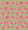 doodle flowers spiral middle seamless pattern vector image