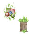 flat casino gambling symbols set vector image