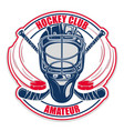hockey helmet club vector image