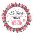 round banner menu with sea food vector image