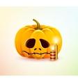 Sad pumpkin vector image