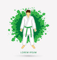 karate suit with green martial arts belts vector image