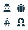 human icons set collection of delivery person vector image