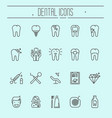 set of dental care icons dental treatment vector image