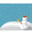 Snowman in the snow vector image