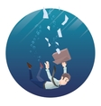 Man in office wear goes down under water Round vector image