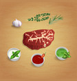 a piece of raw organic marble beef with herbs and vector image