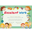 Certification template for students with excellent vector image